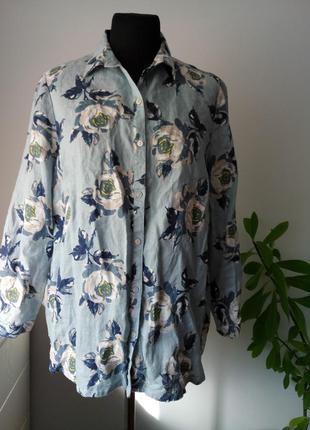 Невероятная весенняя блузка рубашка 100 % лен от tu