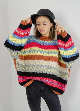 Свободный уютный джемпер, оверсайз кофта, oversize свитер