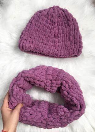 Вязаный набор, комплект, шапка, шапочка, шарф, снуд, хомут