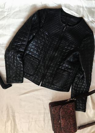 Шикарная базовая черная стеганая кожаная куртка кожанка zara
