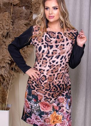 Платье миди принт лео с розами,большого размера