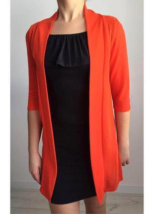 Кардиган яркого цвета, оранжевый кардиган, накидка.