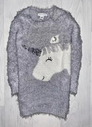 Джемпер туника травка свитер пони единорог одежда девочка 4-5