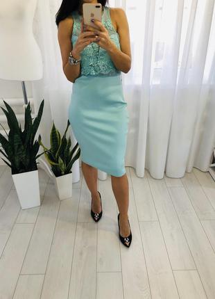 Шикарное миди платье с кружевом в цвете мята ax paris