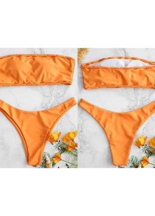 Купальник роздільний, оранжевый купальник, раздельный купальник.