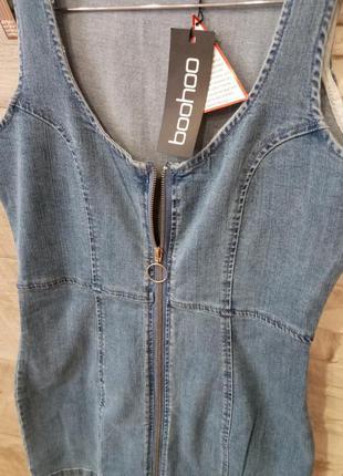 Трендовый джинсовый женский сарафан boohoo