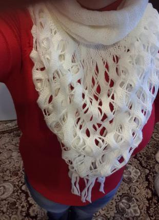 Белый снуд шарф