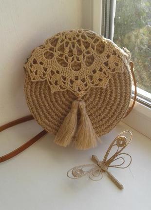 Плетеная, круглая сумочка, сумка - хит этого  лета