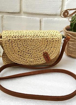 Плетеная поясная сумка, сумка из рафии