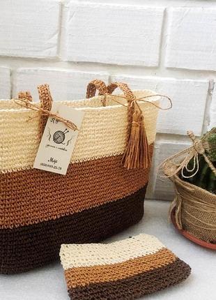 Плетеная сумка из рафии, пляжная сумка