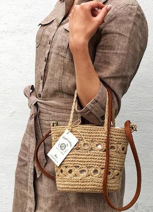 Плетеная сумка , сумка ведерко из джута