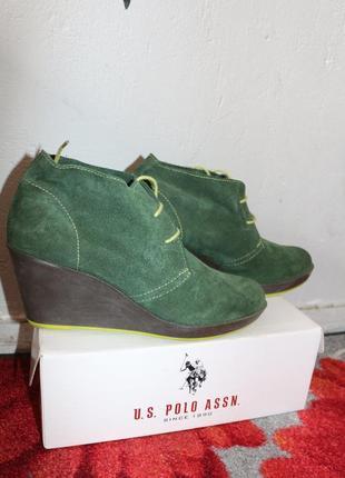 Кожаные замшевые зеленые ботинки catwalk