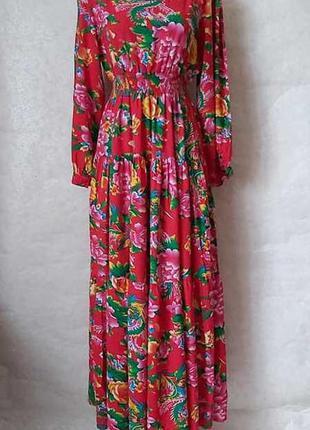 Новое шикарное платье миди со 100% вискозы в сочный цветочный ...