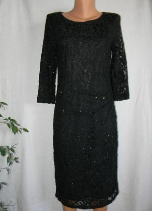Кружевное нарядное блестящее платье soon