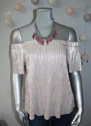 Серебристый пудровый плиссированый топ new look