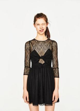 Черное кружевное платье zara