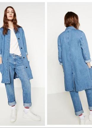 Удлиненная джинсовая куртка пиджак zara