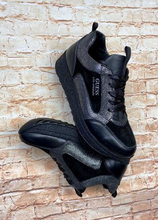 Кроссовки черные кожаные женские
