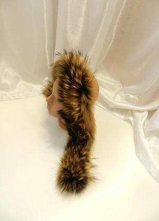 ✅ пушистая опушка на капюшон натуральный мех енот