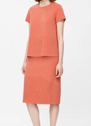 Оранжевая миди юбка cos