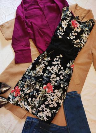 Платье чёрное шифоновое цветочный принт f&f