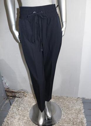 Синие брюки штаны с высокой талией mango