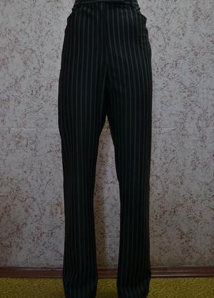 Полосатые повседневные брюки с высокой посадкой