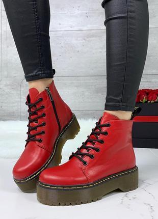 """Красные ботинки деми """"dr. martens"""" из натуральной кожи"""
