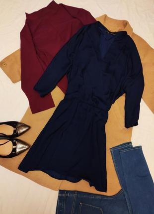 Zara платье тёмно синее рубашка на подкладке коттон хлопок