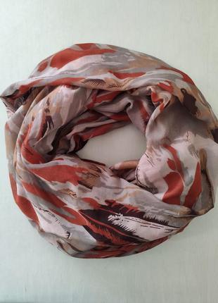 Большой тонкий палантин - хомут, демисезонный шарф - хомут