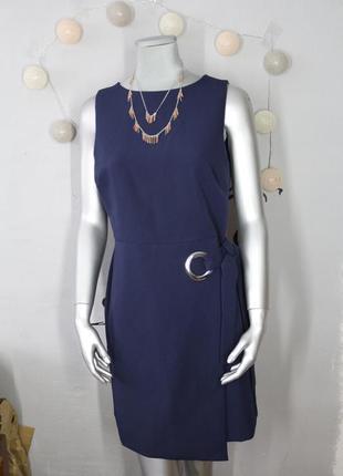 Синие платье с кольцом и завязками new look