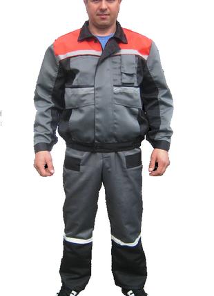 Костюм рабочий серый, куртка с пролукомбинезоном