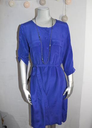 Синие шелковое платье kiomi