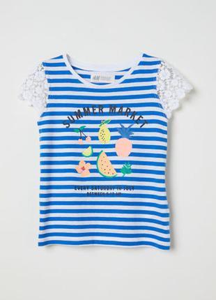 H&m футболка 1,5-2 года с кружевом
