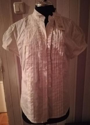 Блуза рубашка белая с короткими рукавами размер m-l новая
