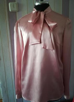 Блуза новая атласная oggi размер м розовая