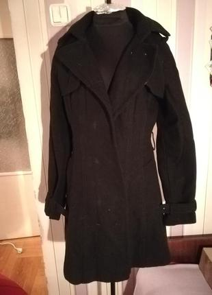 Пальто черное reserved 36 размер шерсть