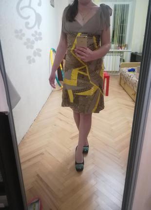 Новогоднее нарядное платье с пайетками с желтое, золотое, бежевое