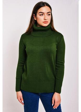 Вязаный длинный свитер с горлом воротником модный джемпер