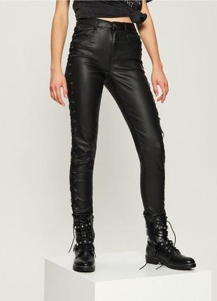 Кожаные штаны брюки с люверсами со шнуровкой в стиле гранж 🖤