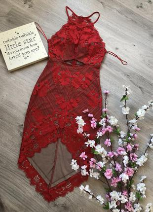 Шикарное асимметричное кружевное платье, красное платье, вечер...