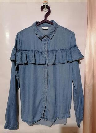 Рубашка джинсовая с рюшами 🍁vila