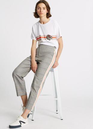 Тотальная распродажа! клетчатые брюки с лампасами