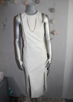 Очень стильное молочное миди платье asos