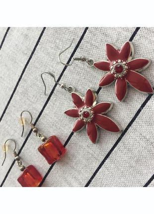 Набір, комплект сережек, лот, сережки з квітами.