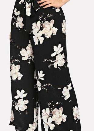 🔥🔥🔥легкие женские широкие брюки, штаны, кюлоты в цветочный при...