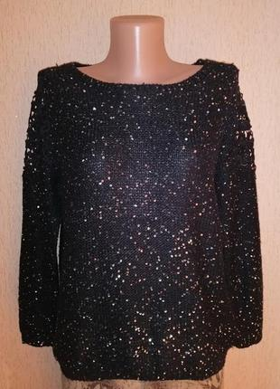 🔥🔥🔥красивая женская черная кофта, джемпер, свитер с блестками ...