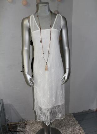 Белое нежное летнее платье mango