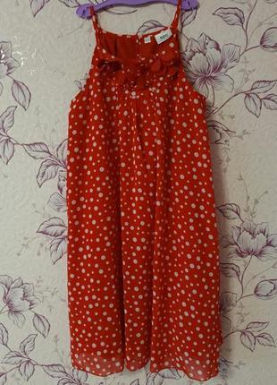 Роскошное красное платье сарафан в горошек bonprix bpc collection