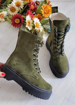 🔥 распродажа!!! ботинки замшевые зимние хаки натуральная кожа ...